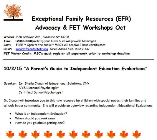 Exceptional Family Resources Workshop Event